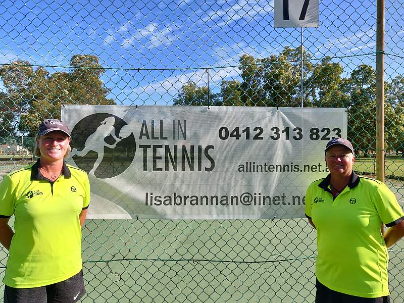 Donna and Lisa at AIT - Belmont Tennis Club.